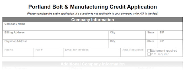 Credit Application  Portland Bolt